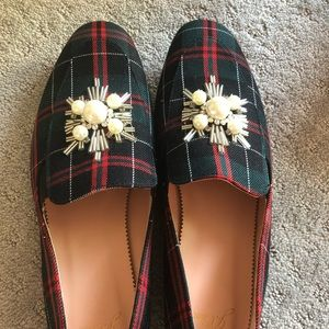 J Crew Christmas plaid loafers